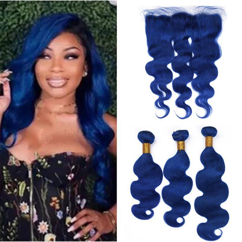 2018 9a Brazilian Blue Human Hair Weave 3 Bundles With Frontal Lace