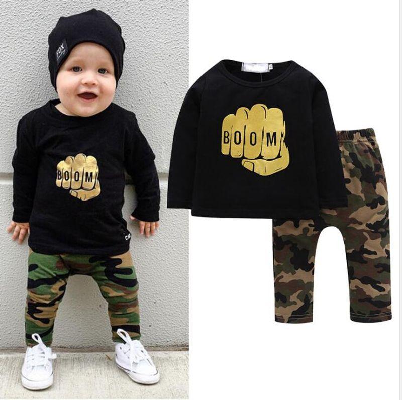 4603ecc583e6 Baby Boys Clothes Set BOOM Letter Print Hoodie Pants Set Toddler ...