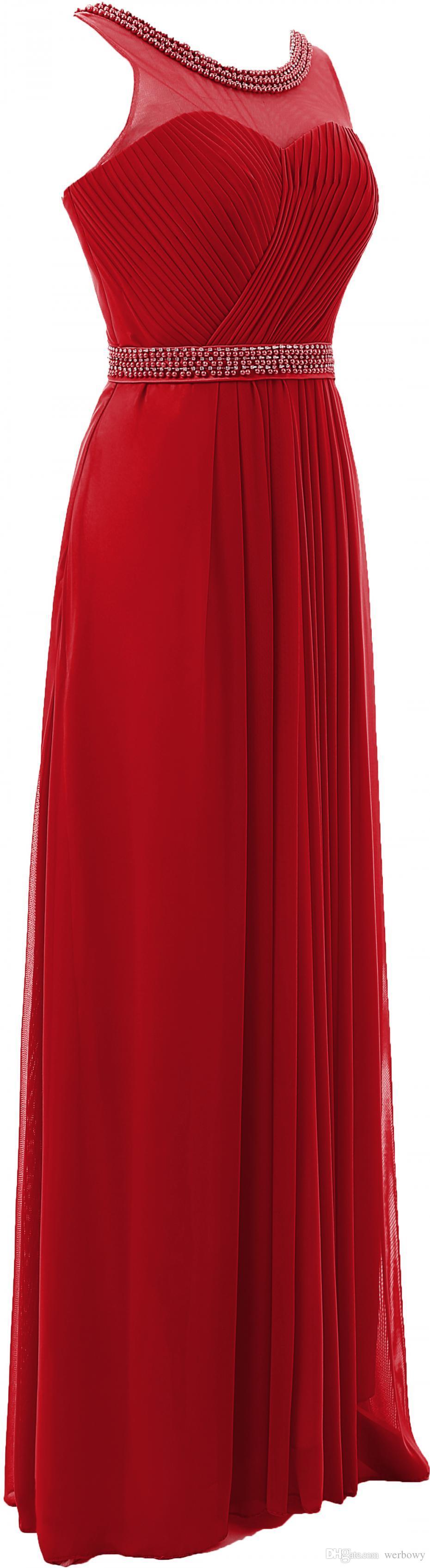 Red Blue Ball A-ligne de robe en mousseline de soie col rond Retour robes de soirée mode de perles longues robes de bal de demoiselle d'honneur HY1304