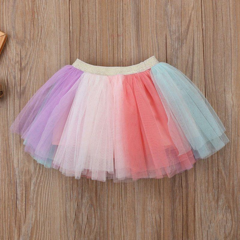 Girl Dress 2018 New Summer Casual Style Cartoon Unicorn T-Shirts+Colorful Veil Dress Girl Party Dress