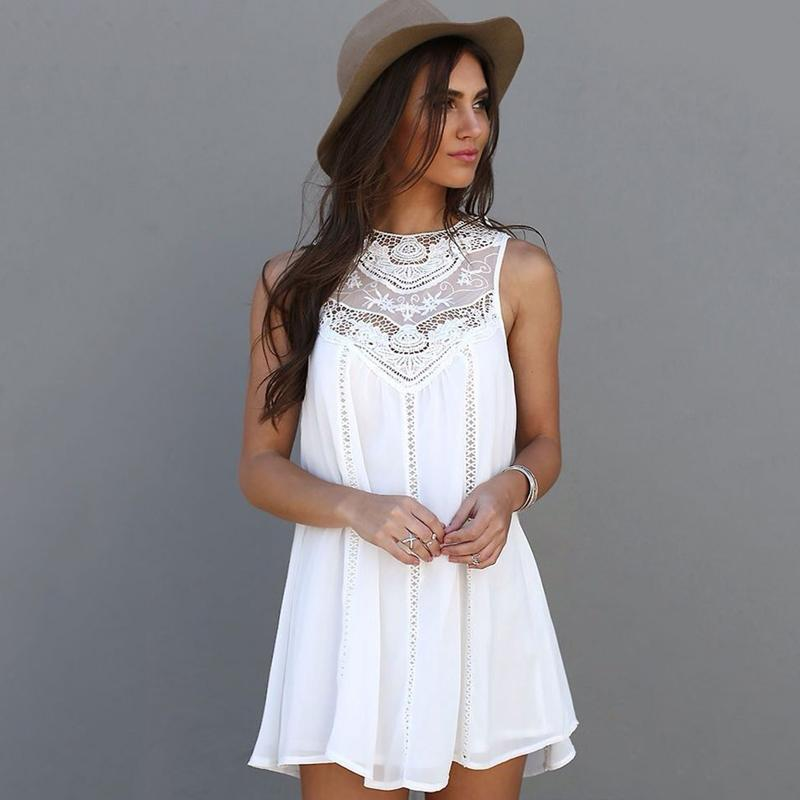 buy sale fast delivery check out Women Summer Dresses 2018 Summer White Lace Mini Party Dresses Sexy Club  Casual Vintage Beach Sun Dress Plus Size