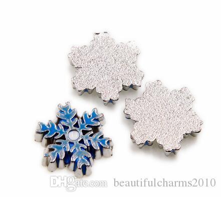 20 Teile / los Blaue Schneeflocke Schwimm Medaillon Charms Fit Für Magnetische Glas Living Memory Medaillon Anhänger Mode Jewelrys