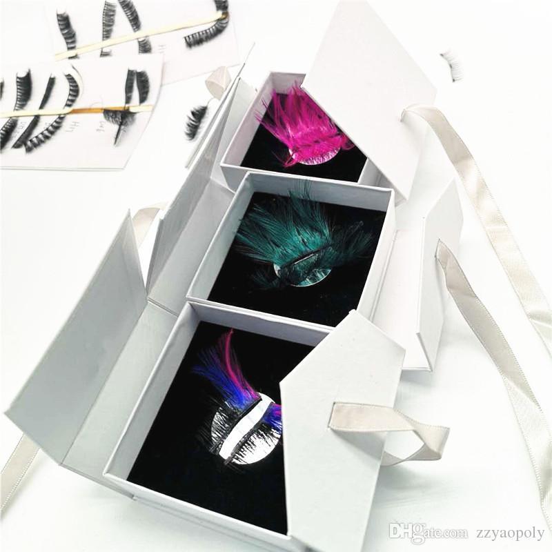 Color exagerado Falsas pestañas magnéticas Etapa Performance Art Studio Maquillaje Pestañas pestañas azules Pestañas gruesas falsas