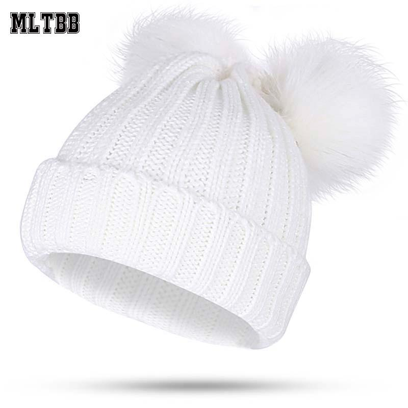 f8472c2176b MLTBB Winter Hat For Women Knitted Pop Poms Hat Warm Cotton Fur Ball Cap 2  Pom Poms Skullies Beanies Thick Female Warm Crochet Beanie Beanies For  Girls From ...
