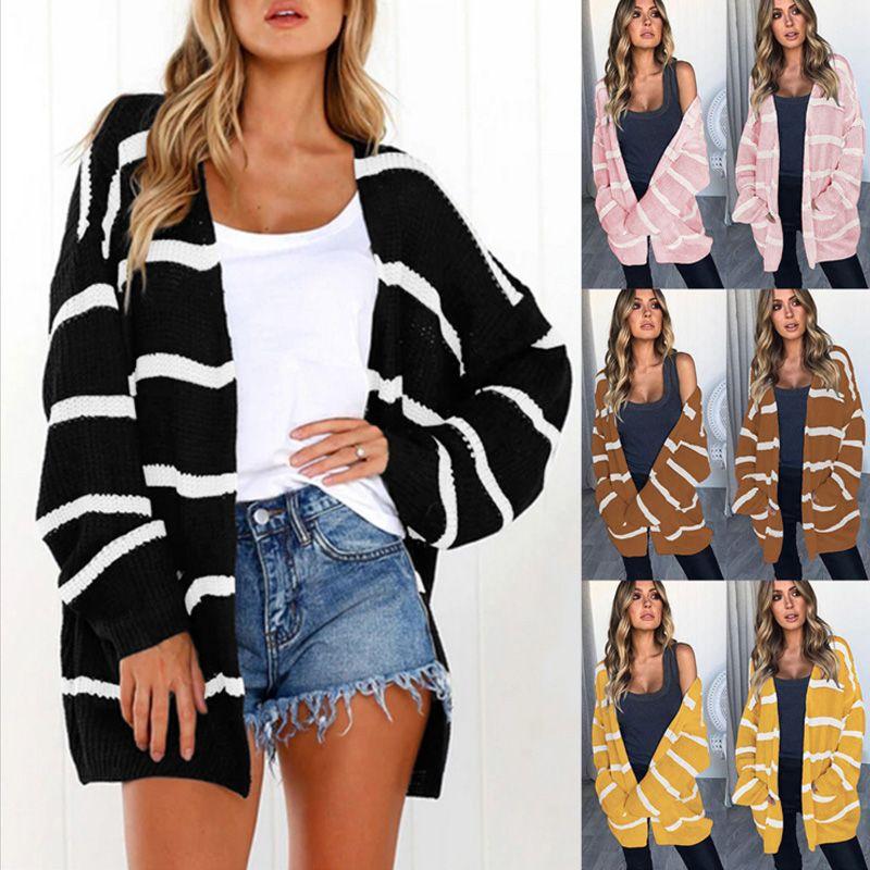 1722bd559050 2018 Autumn winter black white fashion striped long sleeve loose Elegant  knit cardigan sweater women pocket cardigan coat jacket
