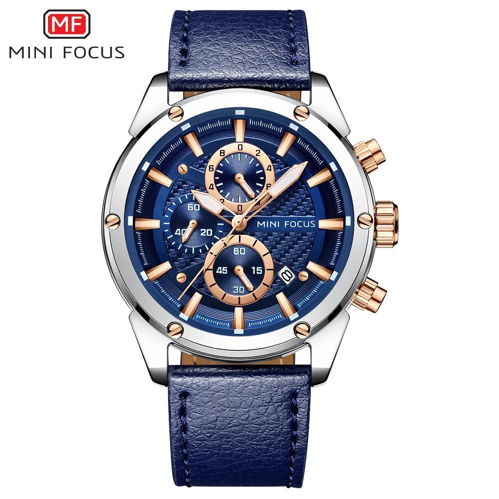 61bd2b65b4c Compre MINI FOCO Relógio De Moda Homens Esporte Relógio De Quartzo Casuais  Mens Relógios Top Marca De Luxo Relógio De Pulso De Couro Cinto Masculino  Azul De ...