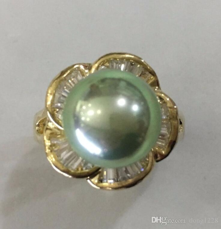 Fashion Women/'s 12 mm Genuine Gray South Sea Shell Pearl Ring Taille 7//8//9//10