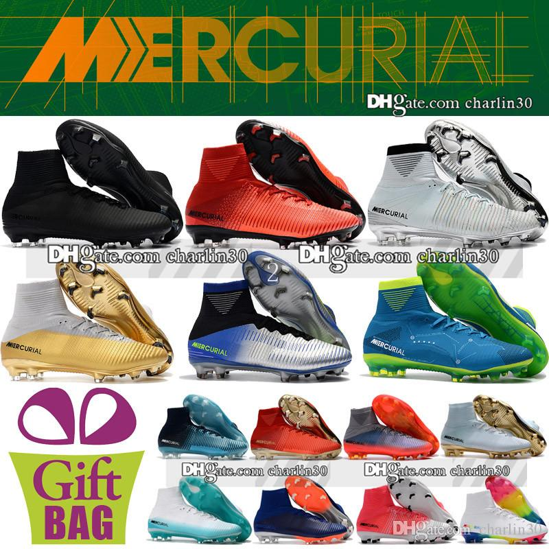2018 Original Mens Mercurial Superfly V FG AG ACC Soccer Shoes High Ankle Mercurial CR7 Neymar Socks Football Boots Ronaldo Soccer Cleats