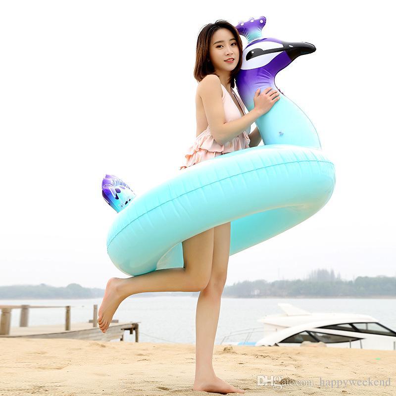 La piscine bleue gonflable de PVC de paon de flotteur 80 * 75 * 75CM nagent la piscine d'anneau de baignade adulte / enfants nageant pour le jeu et les sports