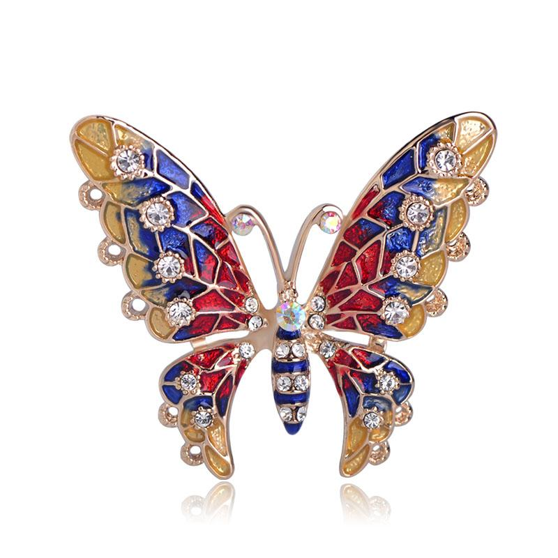 3ceec14dc Blucome Gorgeous Butterfly Shape Brooch Multi Color Enamel Crystal ...