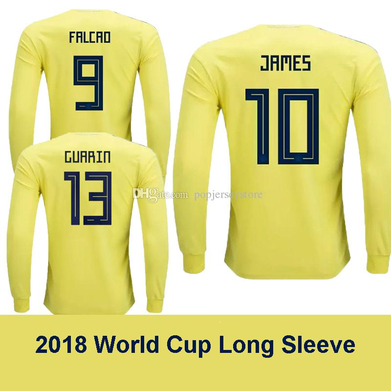 71c978529 2018 COLOMBIA Home FALCAO Long Sleeve Soccer Jersey Yellow World Cup ...
