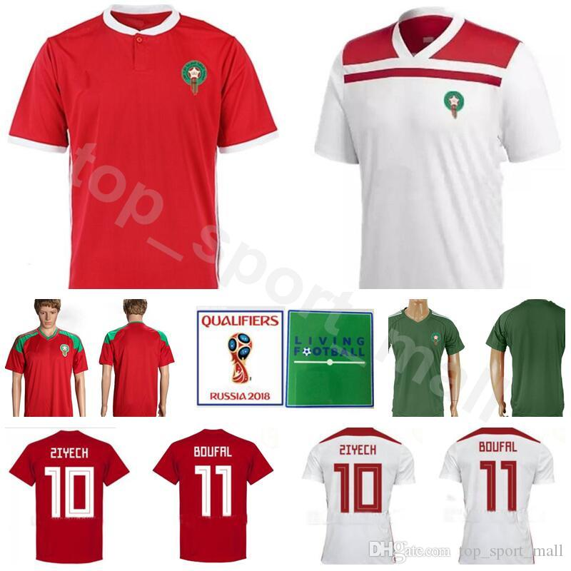 fb61191944a 2019 Men Morocco Soccer Jersey 2018 World Cup 14 Mbark Boussoufa 9 Ayoub El  Kaabi 7 Hakim Ziyech Football Shirt Kits Red White Custom Name Number From  ...