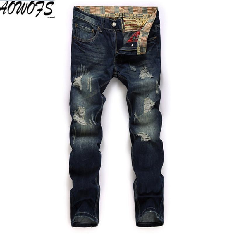 Compre 2018 Marca Nuevos Jeans Hombres Moda Lavado Agujero Denim Motocicleta  Pantalones Vaqueros Straigh Casual Streetwear Pantalones Hombre Hip Pop A  ... 43d531fc3494