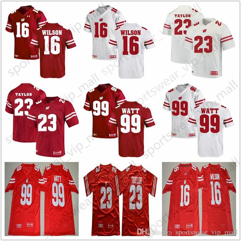buy online 9f968 3bb51 NCAA Wisconsin Badgers Jersey University 23 Jonathan Taylor 16 Russell  Wilson 99 JJ Watt red Stitched College Football Jerseys for Men