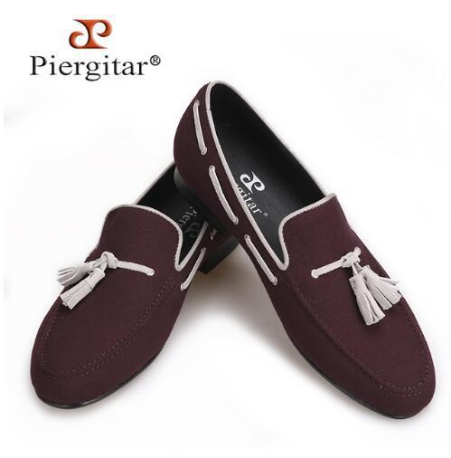 Piergitar 2018 Men Velvet Shoes Handmade Black Tassel Men Party And ... 5d278379717f