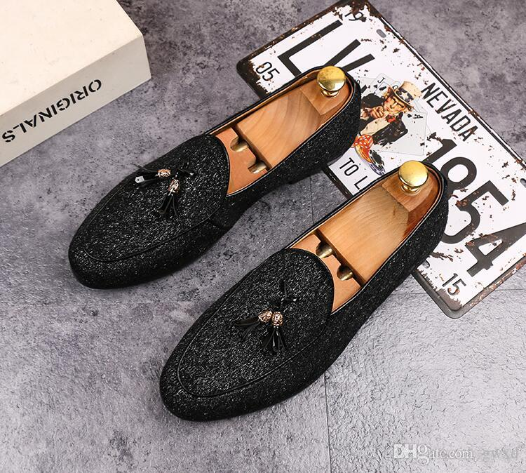 2018 New Style luxury mens pointed toe leather shoe tassel Party and Wedding dress shoes British style men loafers fashion men's flats G142