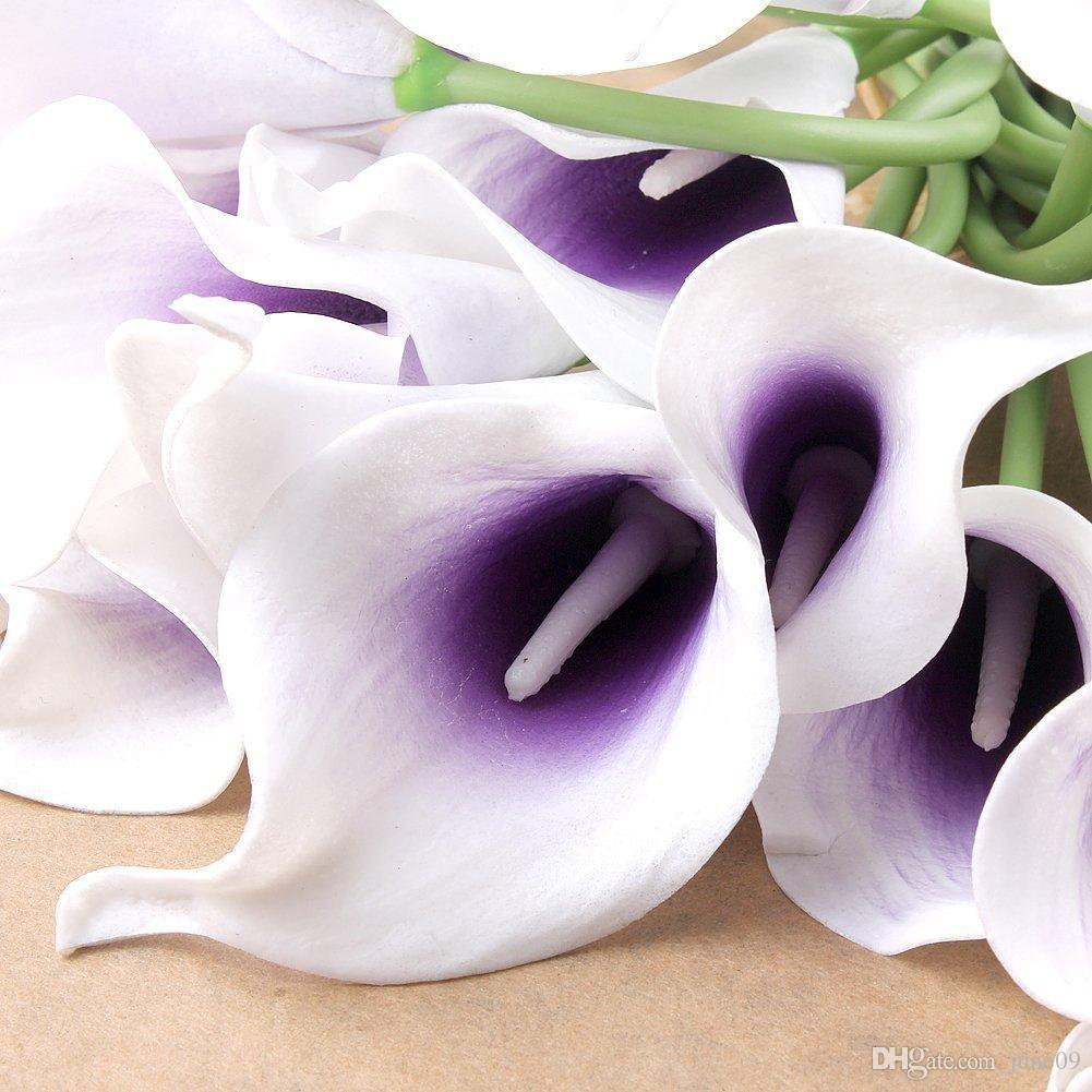 2018 Picasso Purple Real Touch Artificial Calla Lilies For Bridal ...