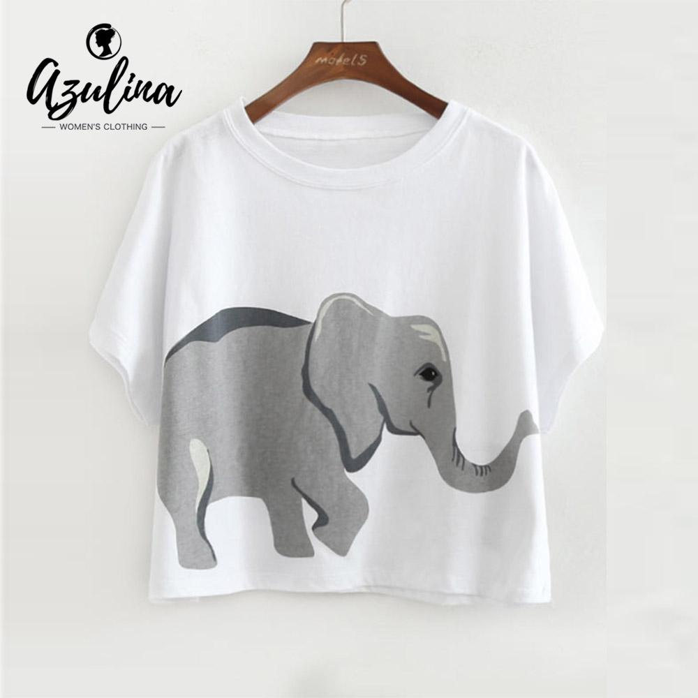 173d150020c58c 20187 AZULINA Elephant Loose Cotton Crop Top T Shirt Girls Casual Cute T  Shirts Women T Shirts Fashion Sweet Ladies Tops Tees Pullver Fun Tee Daily  Tee ...