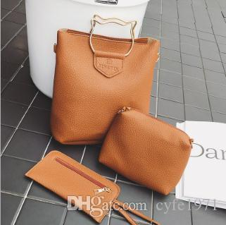 2018 autumn and winter fashion handbags and the wind color picture simple three piece cat ironhand bag South Korea tide package