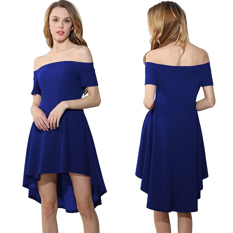 2018 European and American popular fashion sexy dress Strapless collar short sleeved big tilting irregular pure color lady dovetail skirt