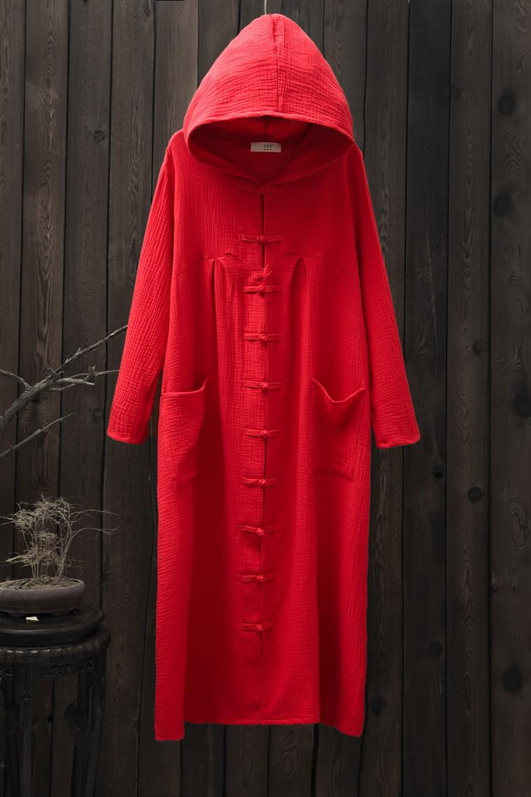 Solid Black Red Long sleeve Hooded Women Long Coat Novelty design Chinese style Trench Coats Plus size Autumn Robe Coat B137