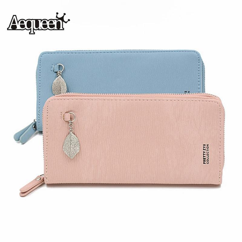 7688cd501251 AEQUEEN Long Women Wallet PU Leather Woman Purses Female Large Capacity  Clutch Card Holder Girls Phone Bags Carteira Feminina