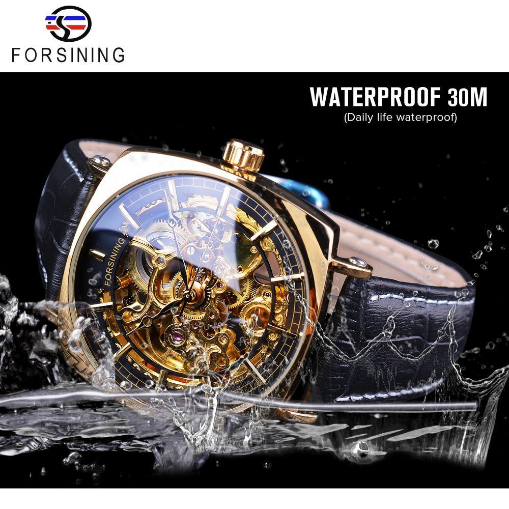 e288a457ec1 Compre Relógio Homens Forsining 2018 Relógio Criativo À Prova D  Água De  Luxo Esqueleto De Ouro Relógios Mecânicos Relógios De Pulso Dos Homens De  Couro ...
