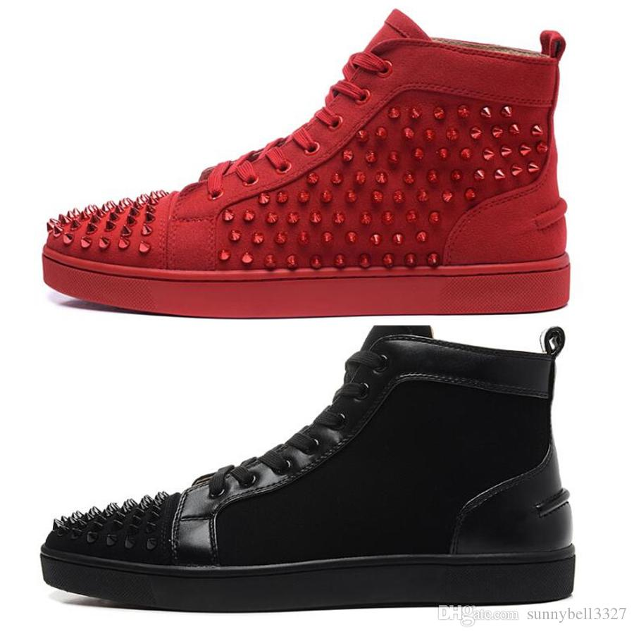 Luxury Brand Red Bottom Sneakers Black Suede With Spikes Casual Mens Womens  Shoes Black Spike Gold Silver Spike Trainers Footwear Flat Shoes Black Shoes  ... f14fdbac13