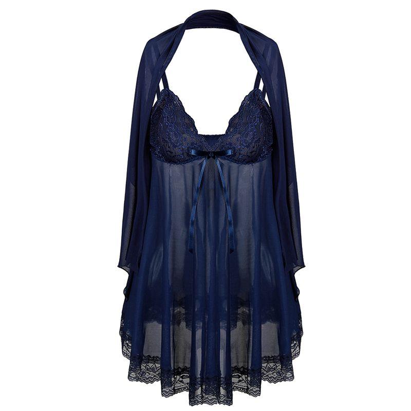 Donne profondo scollo a V camicia da notte affascinante pizzo chemise sheer mesh indumenti da notte scialle sexy cinghia di spaghetti camicia da notte sexy set plus size
