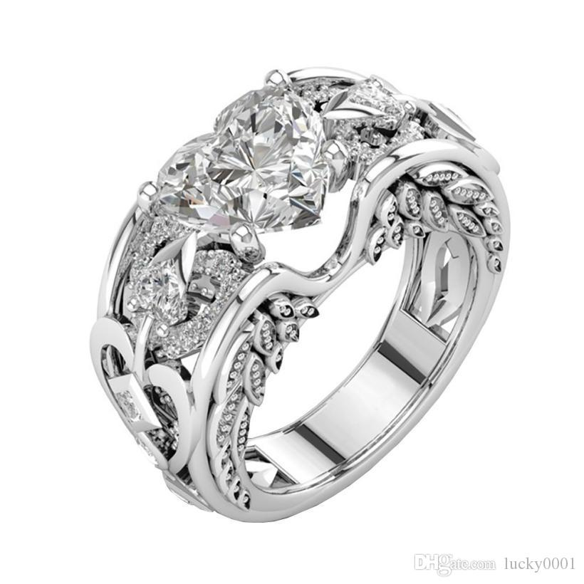 New style 925 sterling silver fashion heart-shaped ruby engagement ring Stainless steel trend individual women's ring wholesale
