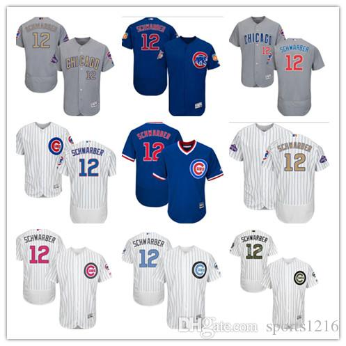 6a455d231 2018 Custom Men S Women Youth Majestic Chicago Cubs Jersey  12 Kyle  Schwarber Home Blue Grey White Kids Baseball Jerseys From Sports1216