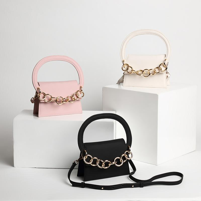 f7d4518cd4 Fashion Catwalk Chain Semicircle Hand Leather Matte Light Face Hand Held  Mini Oblique Cross Pack Black Bags Crossbody Purse From Haixin668