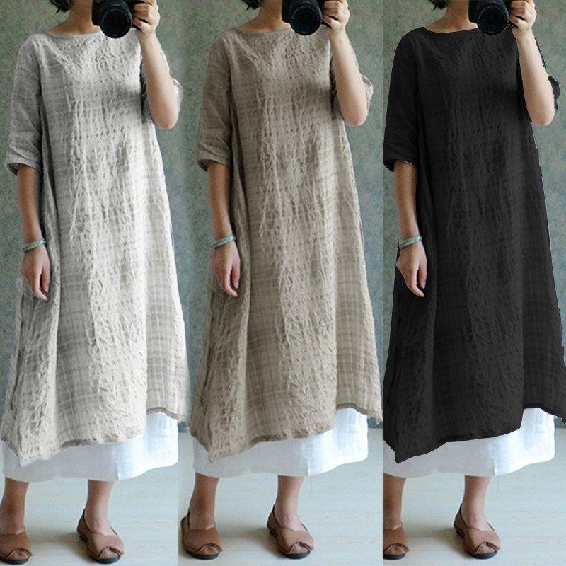 79484a1b353b6 2019 ZANZEA Women Vintage Cotton Linen Dress 2018 Half Sleeve O Neck Side  Split Plaid Baggy Summer Dresses Vestido De Festa Plus Size From Fabian05