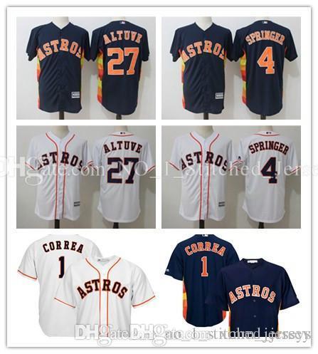 4d2c86ff94a Men s Houston Astros Jersey Carlos Correa 1 George Springer 4 Jose Altuve  27 Majestic Navy Alternate Cool Base Player Baseball Jersey