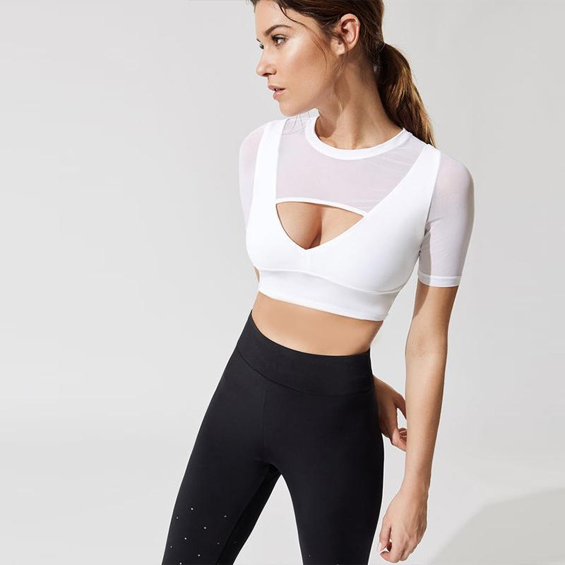 857b8f121ca45 2019 Fitness Bra Transparent Women Yoga Crop Top Sexy Sport Top Short  Sleeve Sport Bras Mujer Fitness Vesta Tracksuits Gym Wear From Pearguo