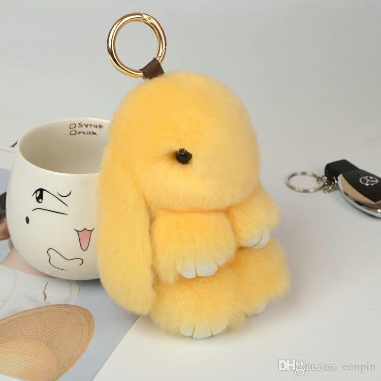 20 cm lapin fourrures porte-clés pompon fourrure porte-clés sac charmes voiture pendentif clé bibelot femmes porte-clés sac à main porte-clés