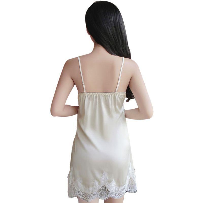 New Summer Sexy Women Lace Sexy Special Spaghetti Strap Nightgown Faux Silk Women Sleepwear Hot