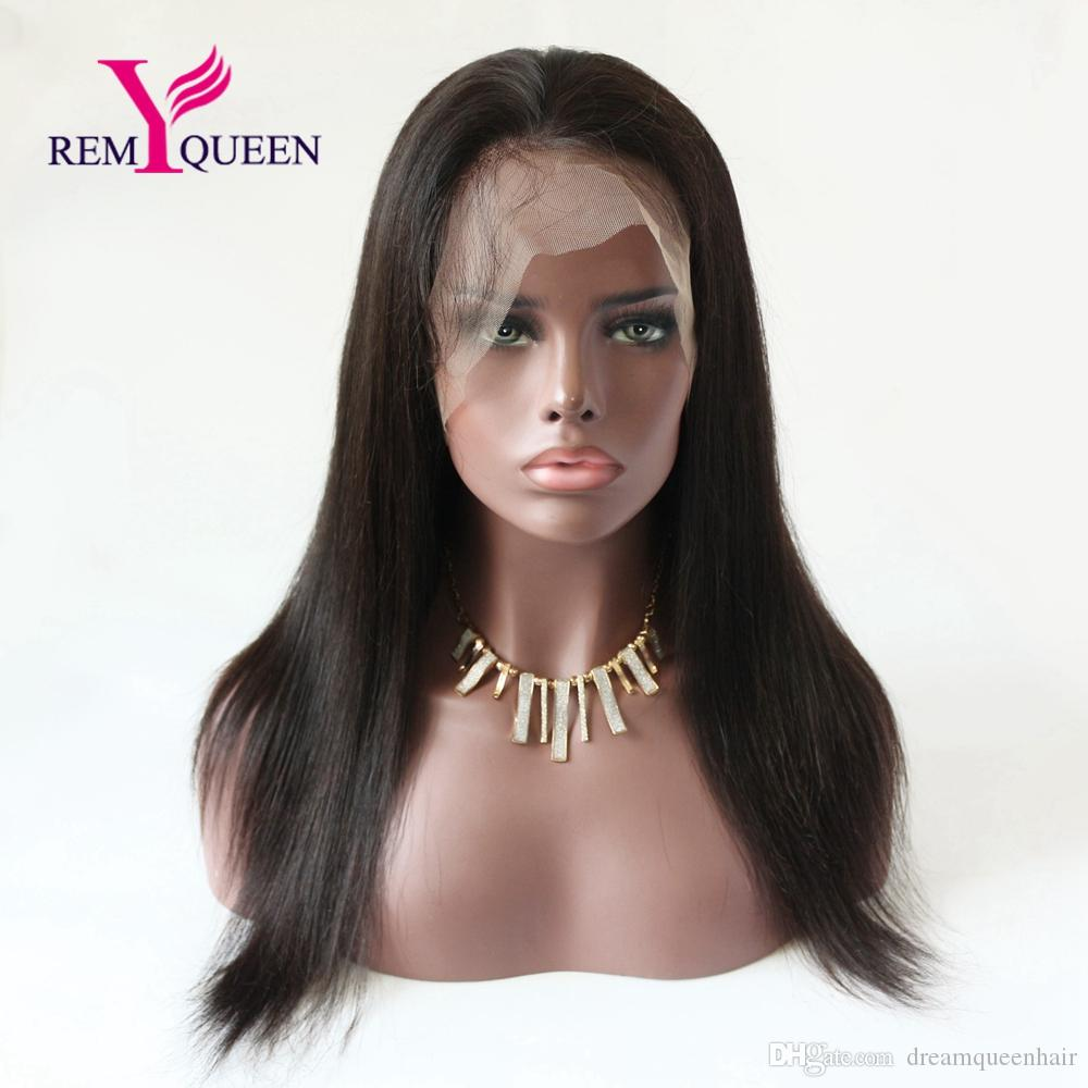 Remy Queen Brazilian Straight Front Lace Wigs 8A Natural 1 1B 2 Wig with Baby Hair Around Natural Hairline 130% Density