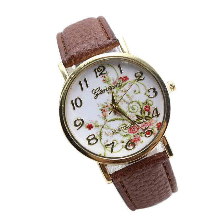 a0460db3a1e Compre Banda De Couro Relógio De Moda Flores Mulheres Grandes Flores De  Ouro Números Digitais Dial Quartz Analógico Relógio De Pulso Relógio De  Spectalin