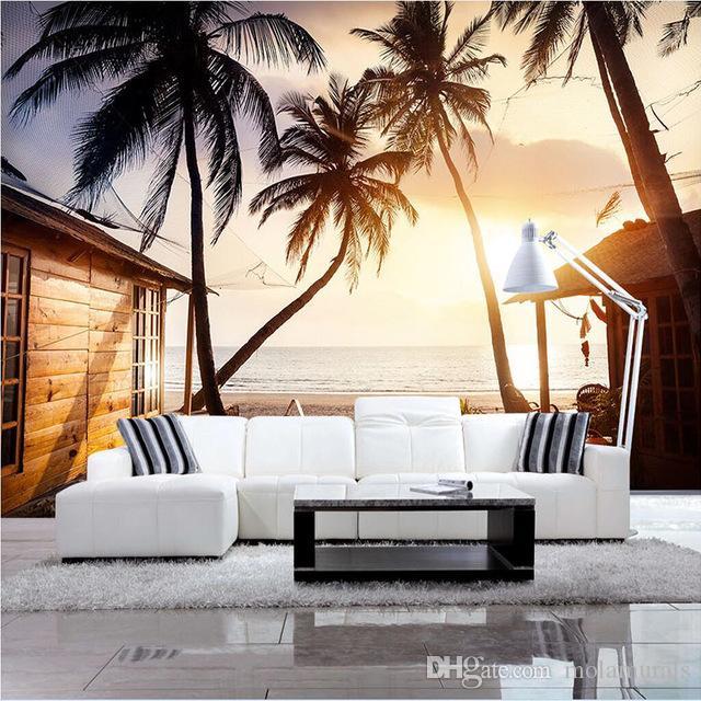 Benutzerdefinierte Moderne minimalistische 3D Tapete Wandbild vlies  kokospalme Wand Papier Flur Wohnzimmer TV Wand Dekoration