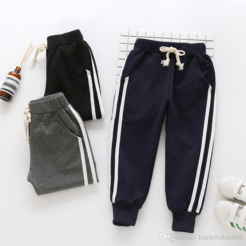 Hot New Boys Clothes Aummer Cotton Casual Sport Boys Pants Striped Drawstring Fashion kids Long Trousers Pants Wholesale Black Gray Navy