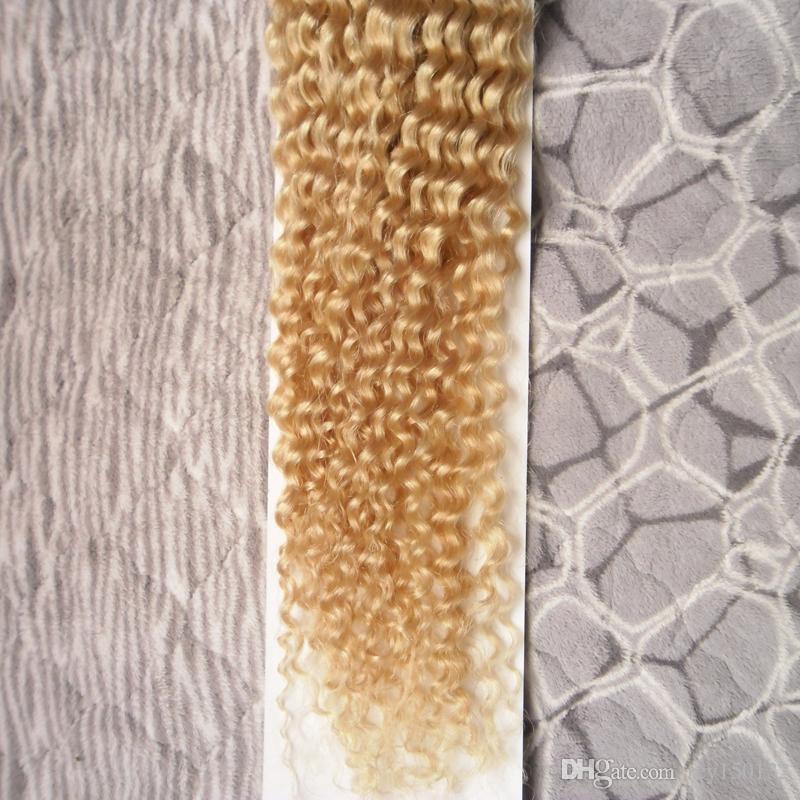 Kinky Kıvırcık Saç Brezilyalı Saç Örgü Demetleri 100g 100% İnsan Saç Uzantıları 1 adet Olmayan Remy 613 Bleach Sarışın Demetleri toptan