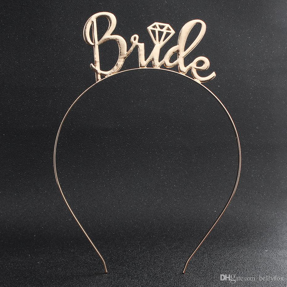 2019 Bride Letter Gold Headband Wedding Guest Flower Girl Headdress