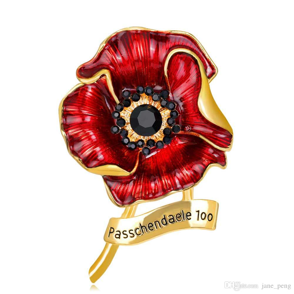 2018 Passchendaele 100 Poppy Flower Brooch Pin With Crystal For