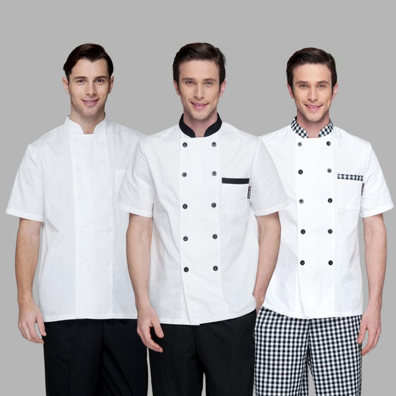 Compre servicio de chef de manga corta uniformes de verano - Uniformes de cocina ...