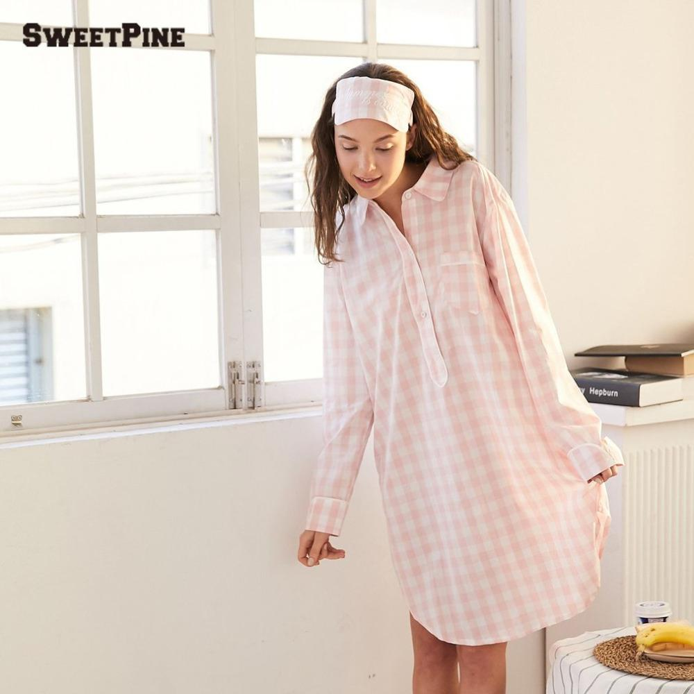 Summer New Plaid Sleepwear Sexy Women Sleepshirts 100% Brushed ... 43a1c309f