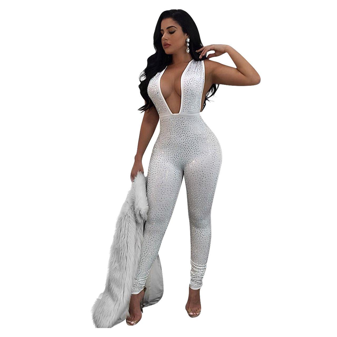 Overalls For Women Rhinestone Bodysuit Deep v Neck Top drill jumpsuits Glitter Onesie Sequin Bodysuit Body Feminino Catsuit