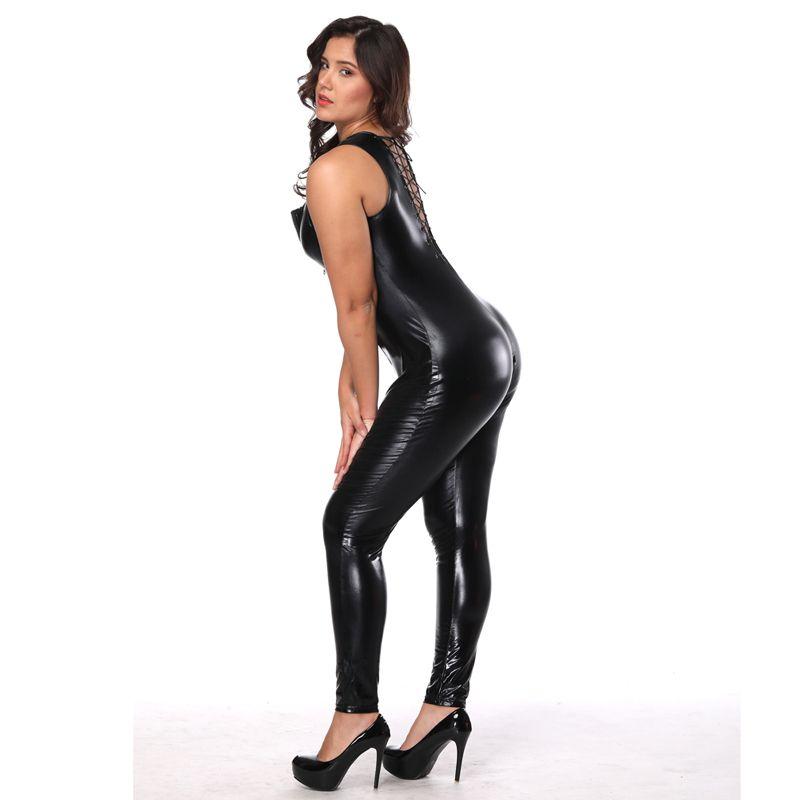 Frauen Kunstleder Bodysuit Sexy Zipper Front Lace Up Bodycon Overall Erotik Ärmellos Geöffneter Schritt Catsuit Sexy Dessous