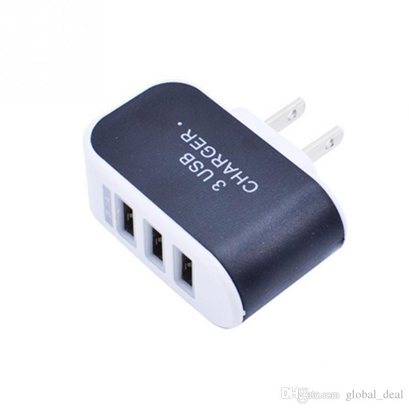 Für iPhone 6 7 Plus 3 Port Fast Charging USB-Ladegerät 3.1A Triple-USB-Anschluss Wand Home Reise AC-Ladegerät US-EU-Stecker für Android und iOS