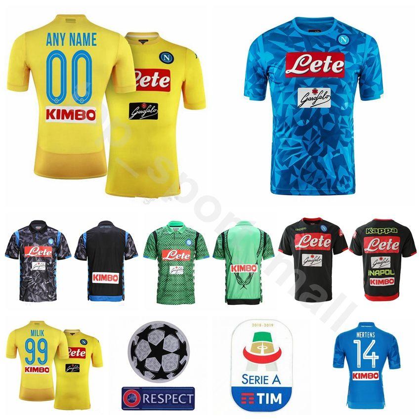 Compre 2019 Serie A FC Napoli Futebol 7 Jose Callejon Jersey Masculino Casa  Azul Amarelo 14 Dries Mertens 17 Marek Hamsik Kits De Camisa De Futebol De  ... 039c9a7cada0d